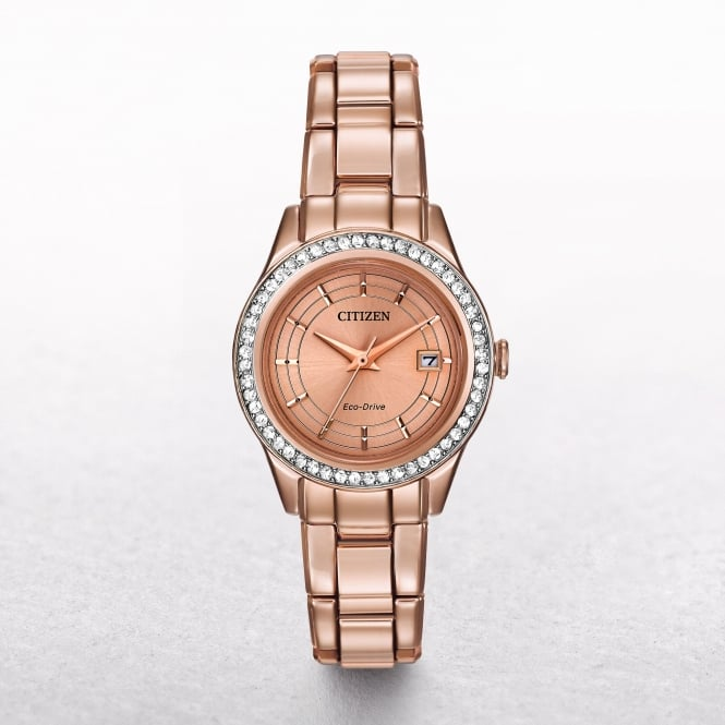 Ladies Citizen Eco-Drive Gold Silhouette Crystal