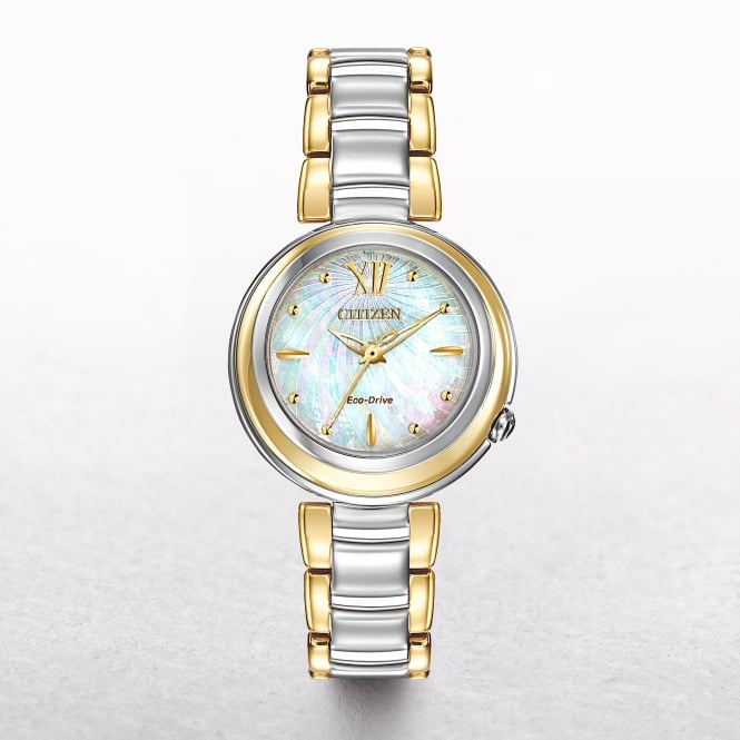 Ladies Citizen Eco-Drive Gold Tone & Stainless Steel Sunrise