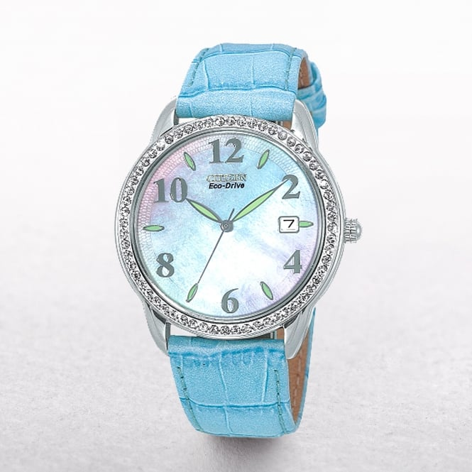 Ladies Citizen Eco-Drive Leather Blue Strap With Swarovski Crystal