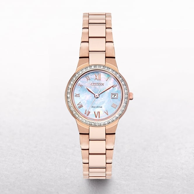 Ladies Citizen Eco-Drive Rose Gold Tone Silhouette Crystal