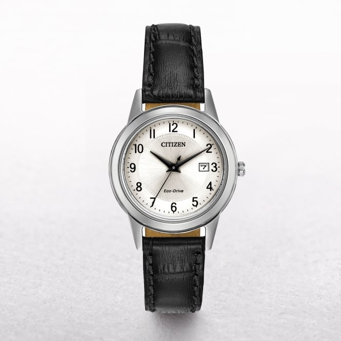 Ladies Citizen Eco-Drive Silver Dial on a Leather Strap