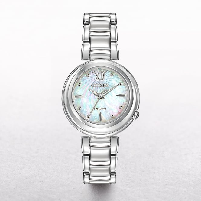 Ladies Citizen Eco-Drive Stainless Steel Mother Of Pearl Sunrise