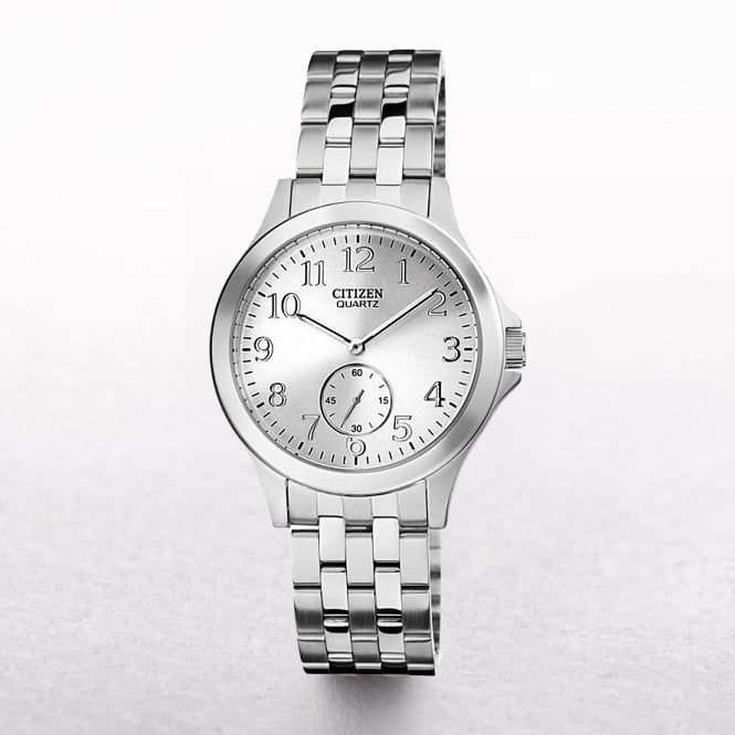 Ladies Citizen Eco-Drive Stainless Steel White Date & Seconds Dial