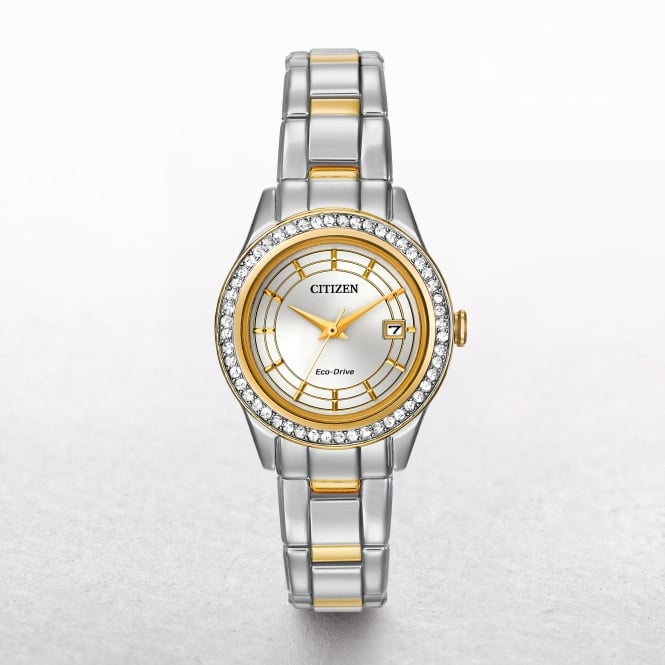 Ladies Citizen Eco-Drive Two Tone Silhouette Crystal Watch