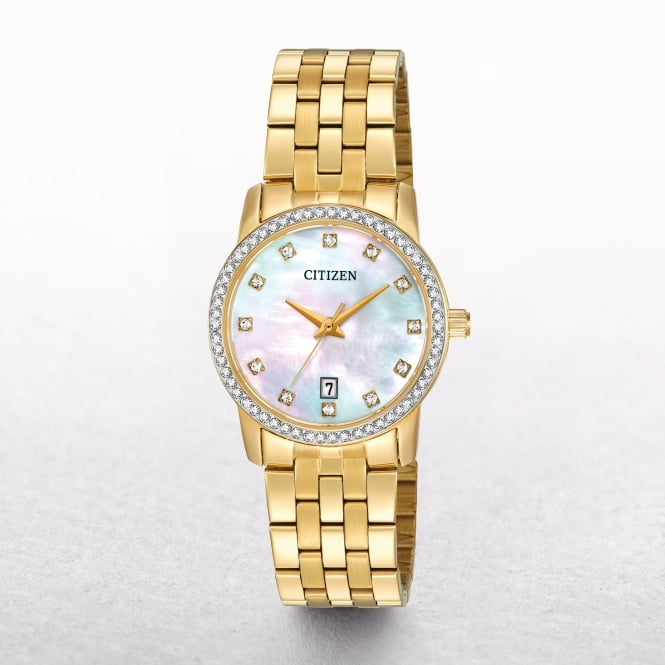 Ladies Citizen Gold Tone Swarovski Crystal Bezel With Mother of Pearl Dial