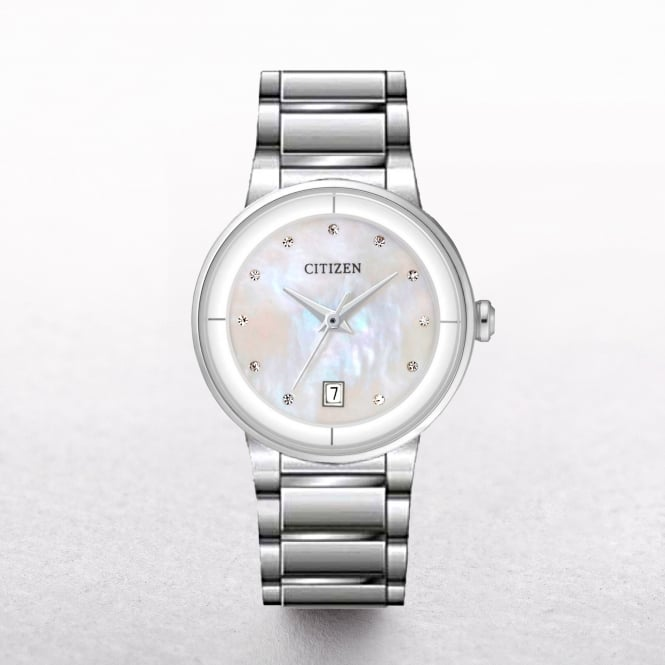Ladies Citizen Stainless Steel White Mother Of Pearl Dial