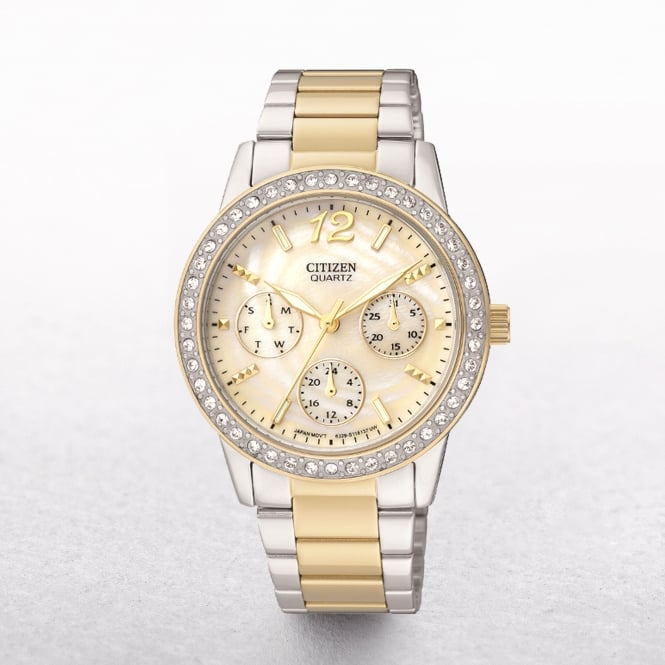 Ladies Citizen Swarovski Crystal Bezel & Mother Of Pearl Dial