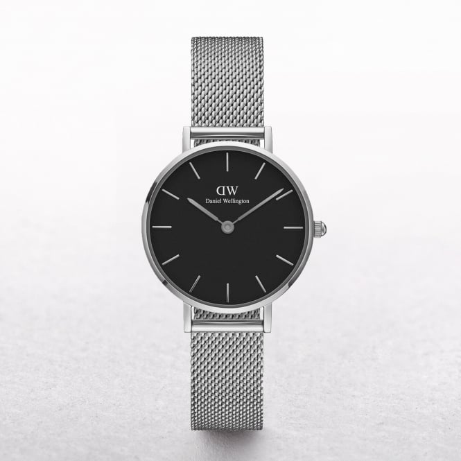 Ladies Daniel Wellington Petite Sterling Black Dial Watch