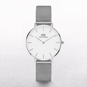 Ladies Daniel Wellington Sterling Petite White Dial Watch