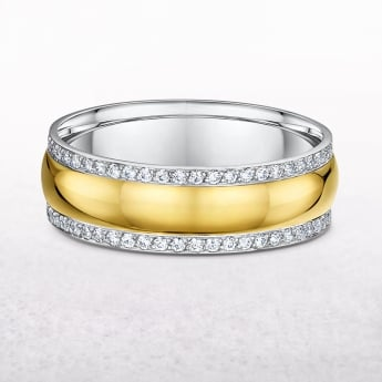 Ladies Diamond Set Yellow & White Gold Wedding Band