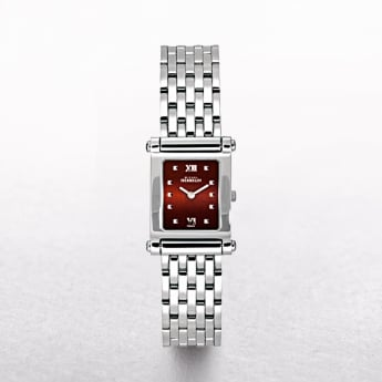 Ladies Michel Herbelin Antares Stainless Steel Bracelet ,Square Brown Colour Dial