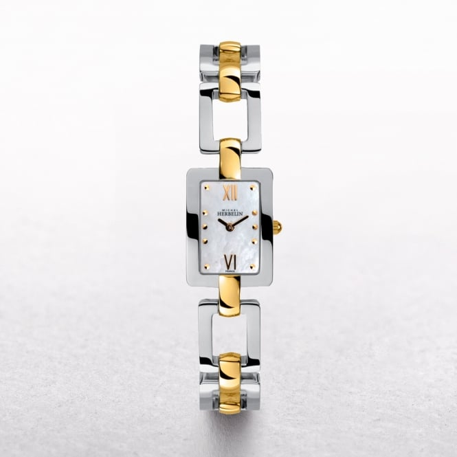 Ladies Michel Herbelin Bolero Two Tone Mother of Pearl Dial & Square Links