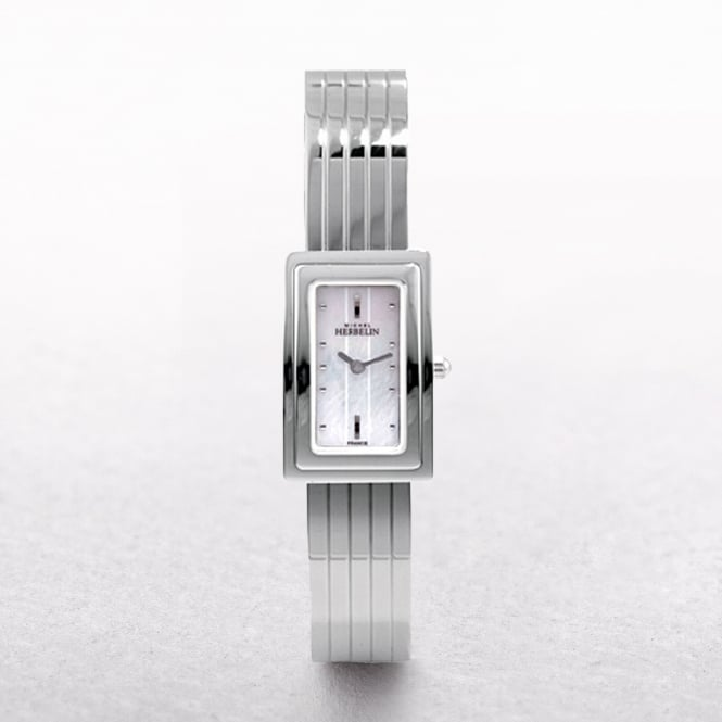Ladies Michel Herbelin Corynthe Stainless Steel Rectangular Mother of Pearl Dial