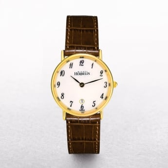Ladies Michel Herbelin Sonates Gold Plated On Brown Strap