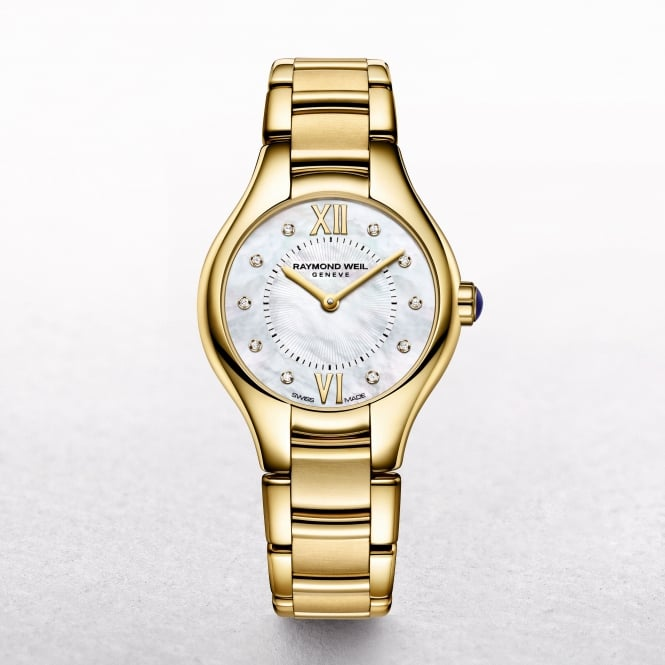 Ladies Raymond Weil Gold Plated Noemia Mother of Pearl and Diamond Dial Bracelet