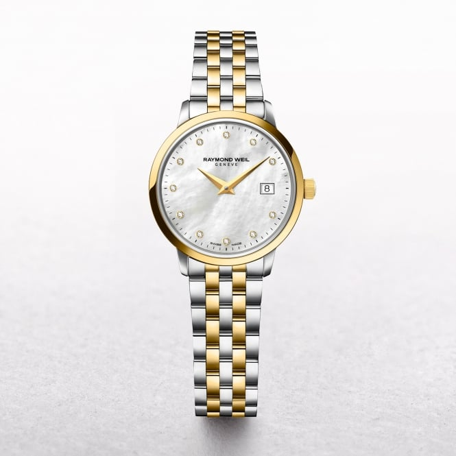 Ladies Raymond Weil Gold Toccata Mother of Pearl Dial with Diamonds