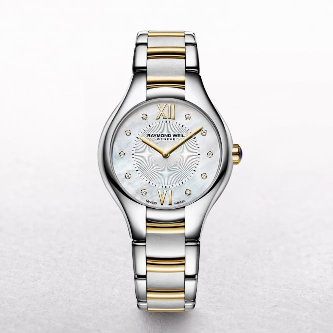 Ladies Raymond Weil Noemia Two Toned Bracelet Mother of Pearl Diamond Markers