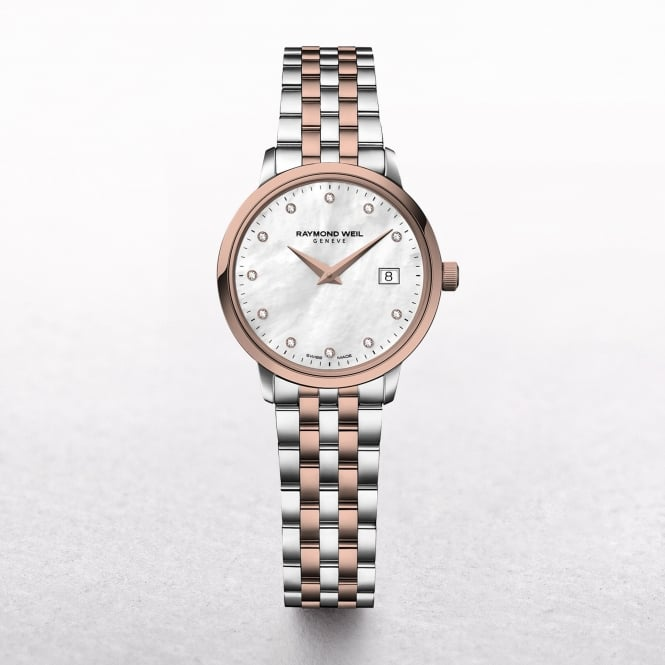 Ladies Raymond Weil Rose Gold Toccata Mother of Pearl Dial with Diamonds