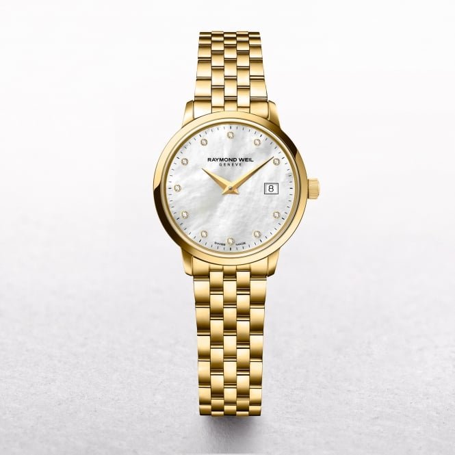 Ladies Raymond Weil Toccata Round Mother of Pearl Dial Yellow Gold Watch