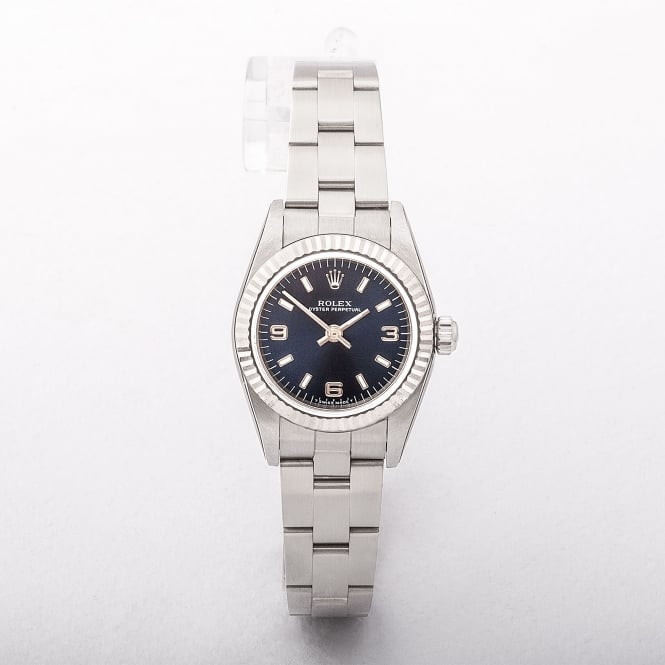 Ladies Rolex 1999 Oyster Perpetual Blue Dial Stainless Steel Watch on Oyster Bracelet