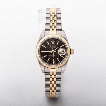 Ladies Rolex Date Just Brown Baton Dial On a Two Tone Jubilee Bracelet