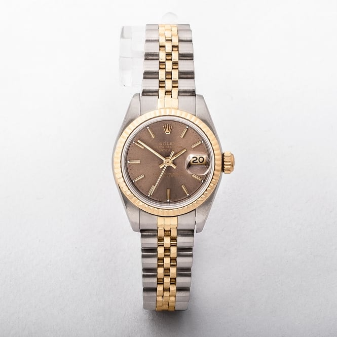 Ladies Rolex Date Just With Bronze Baton Dial On Two Tone Jubilee Bracelet