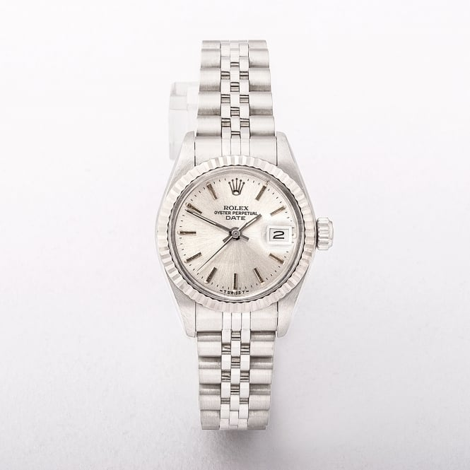 Ladies Rolex Date Watch On Stainless Steel Jubilee Bracelet