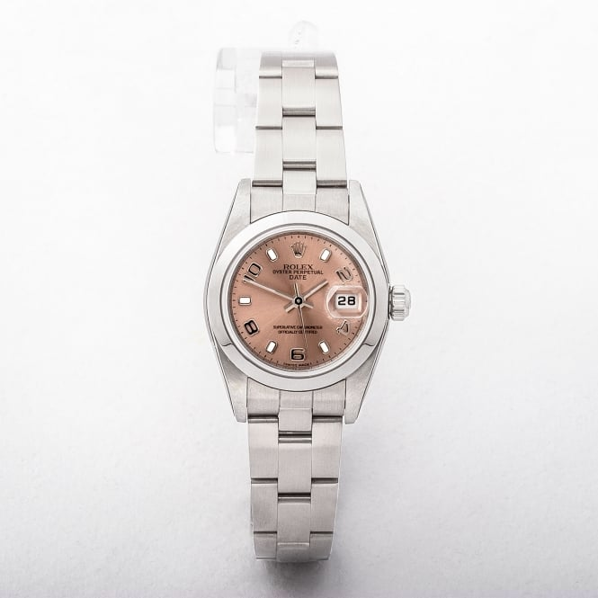 Ladies Rolex Date Watch with Salmon Dial on Stainless Steel Oyster Bracelet