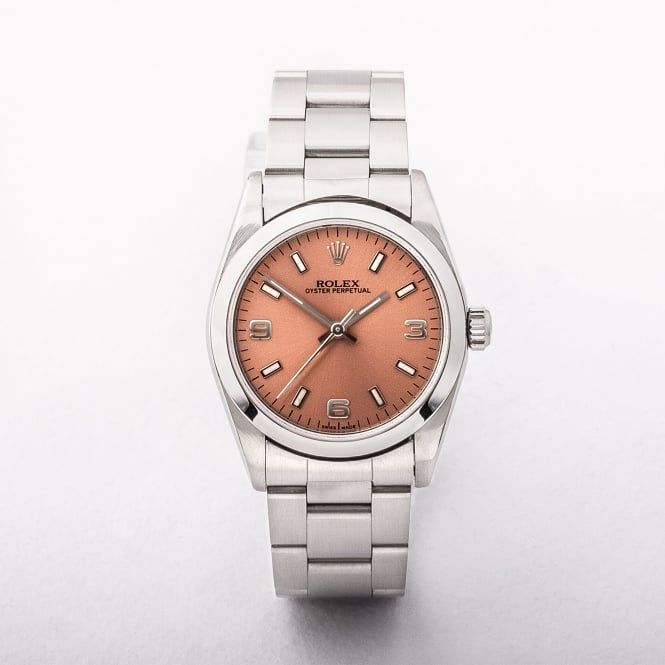 Ladies Rolex Mid-Size With Pink Dial on Stainless Steel Oyster Bracelet