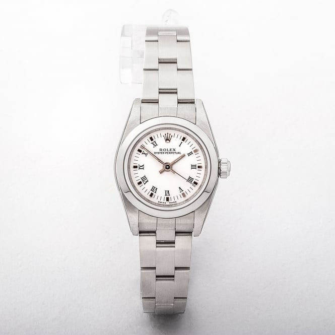 Ladies Rolex Oyster Perpetual Watch with White Dial