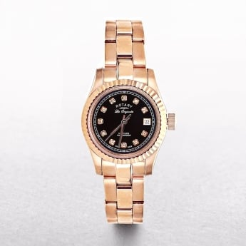 Ladies Rotary Gold Plated Diamond Set on a Brown Dial