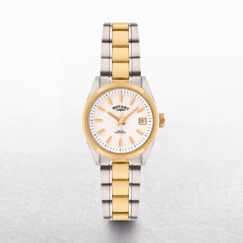 Ladies Rotary Havana Two Tone Stainless Steel & Gold Plated Cream Dial