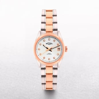 Ladies Rotary Havana Two Tone Stainless Steel & Rose Gold Plated Diamond Set Dial