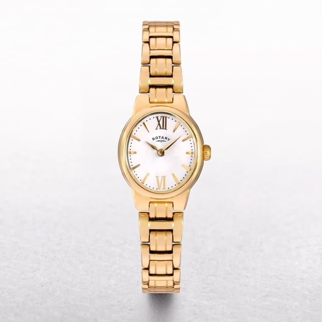 Ladies Rotary Olive Gold Plated Oval Dial