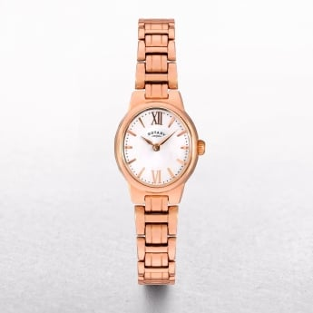 Ladies Rotary Olive Rose Gold Plated Oval Dial