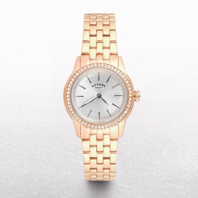 Ladies Rotary Rose Gold Plated Round Crystal Set Dial