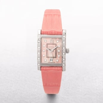 Ladies Rotary Stainless Steel Diamond & Mother of Pearl Dial with Coral Strap