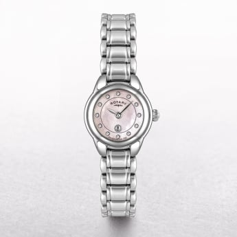 Ladies Rotary Stainless Steel Round Dial Set with Diamonds