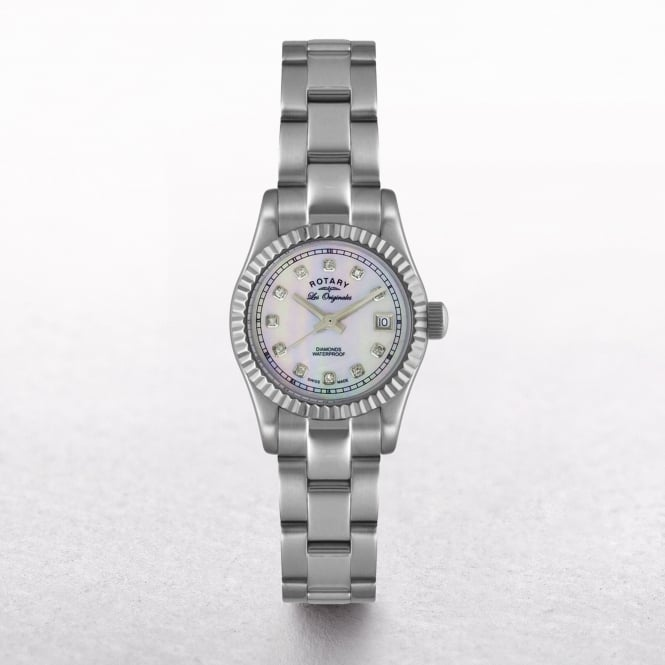 Ladies Rotary Stainless Steel Round Diamond Mother of Pearl Dial