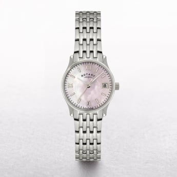 Ladies Rotary Stainless Steel Round Mother of Pearl Dial