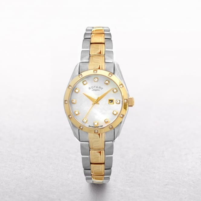 Ladies Rotary Two Toned Yellow Gold Plate & Stainless Steel with Mother of Pearl & Diamonds