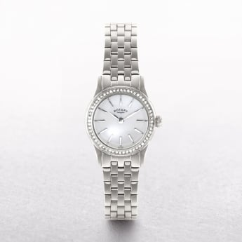 Ladies Rotary Verona Stainless Steel White Dial With Crystal Set Bezel