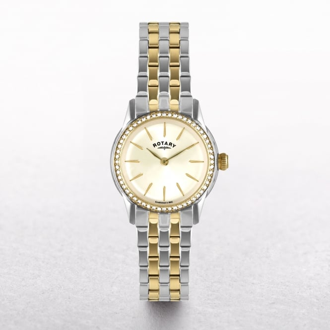 Ladies Rotary Verona Two Toned Stainless Steel & Gold Plated with Diamond Set Bezel