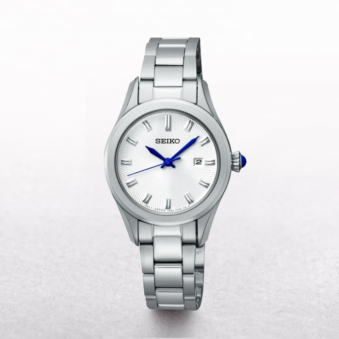 Ladies Seiko Classic White Dial With Blue Hands