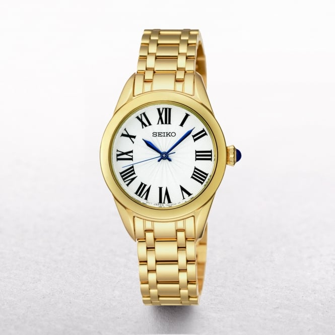 Ladies Seiko Gold Plated Roman Numeral Markers With Blue Hands
