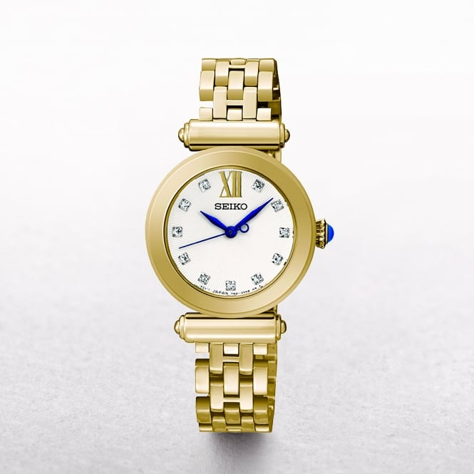 Ladies Seiko Gold Plated With Mother Of Pearl & Crystal Dial