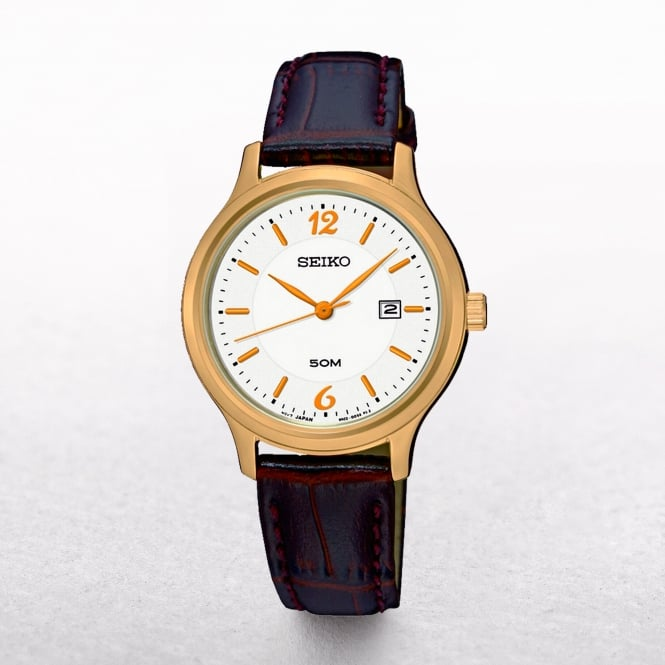 Ladies Seiko Rose Gold Plated Case Set On A Leather Strap