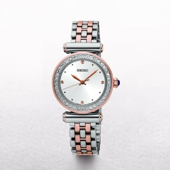 Ladies Seiko Rose Gold Plated & Stainless Steel Swarovski Crystal Bezel