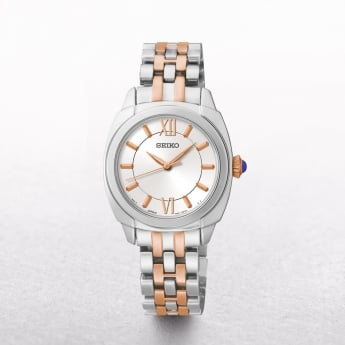 Ladies Seiko Rose Gold Plated & Stainless Steel White Dial