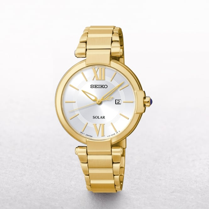 Ladies Seiko Solar Powered Gold Plated With Silver Dial